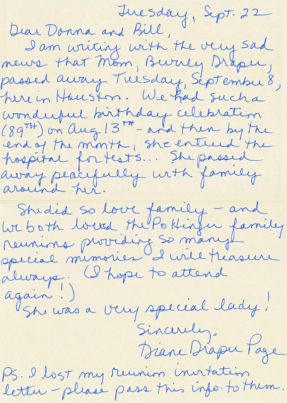 Note from Diane Draper Page about her Mother, Beverly Steele Draper passing